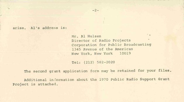 1970 Public Radio Support Grant Project award letter (page 2)