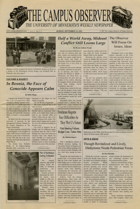 """Campus Observer, 2001-2002, newspaper """" published with the belief that students, faculty, and staff would benefit from a weekly newspaper doing high-quality journalism that would focus on more in-depth and investigative pieces about the world around us"""" (note the date of their first issue)"""