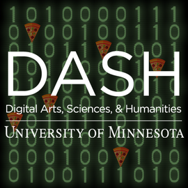DASH logo with pizza and binary code in background