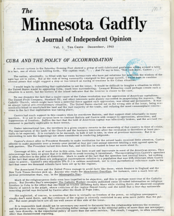 """Minnesota Gadfly, 1963-1965, general news and issues magazine with a goal to get students interested in national and international issues and """"offer positive suggestions for possible action"""""""