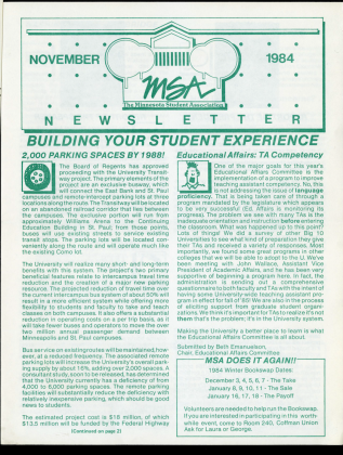 MSA Newsletter (also MSA Informant), 1980s and 1990s, newsletter to keep members of student government and the Twin Cities community informed of MSA activities