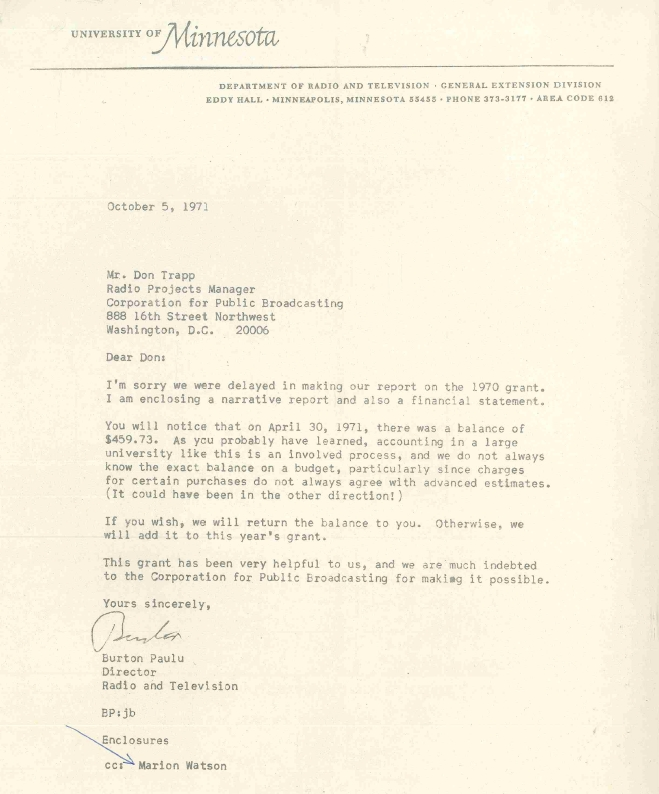 Paulu's cover letter for the 1971 Corporation for Public Broadcasting grant expenditures report
