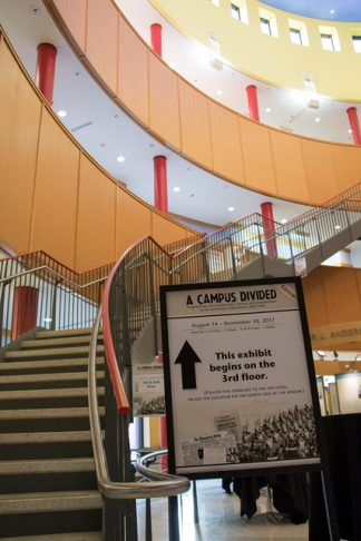 View of the Exhibit Welcome sign and the steps at Andersen Library.