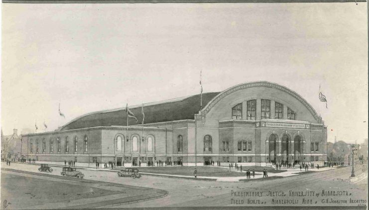 Architectural sketch of the Minnesota Field House by C.H. Johnston Architects, November 1, 1926.
