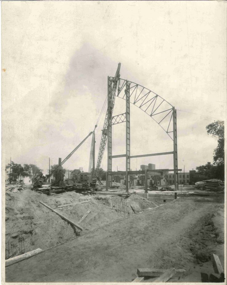 During 1927, the Field House began to take form. The structure was still unrecognizable on August 4, 1927.