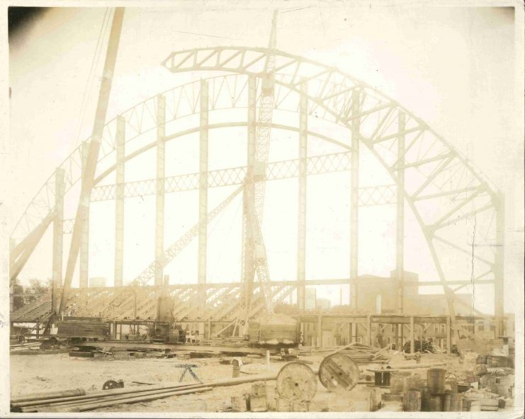 The curved roof was beginning its ascent on September 6, 1927.