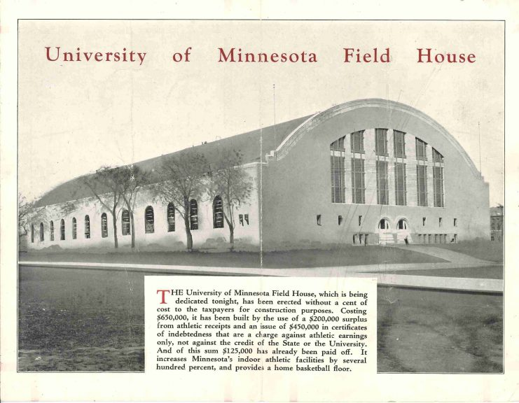 """The dedication program extolled the financing of the Field House, which had been """"erected without a cent of cost to the taxpayers for construction purposes."""""""