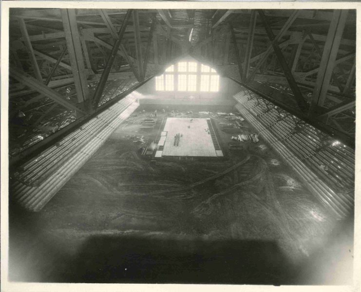 Construction of the raised court began in late 1927.