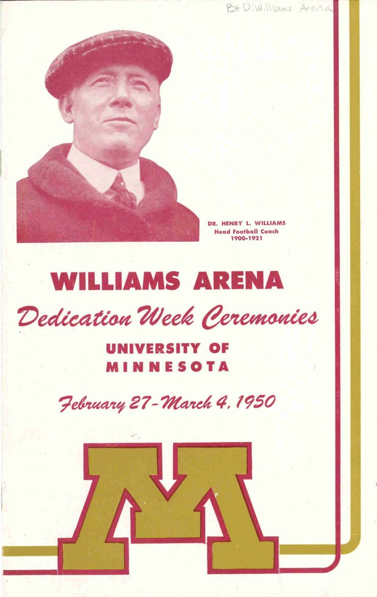 A week of celebrations was capped off with the dedication of Williams Arena in honor of Dr. Henry L. Williams on March 4, 1950.