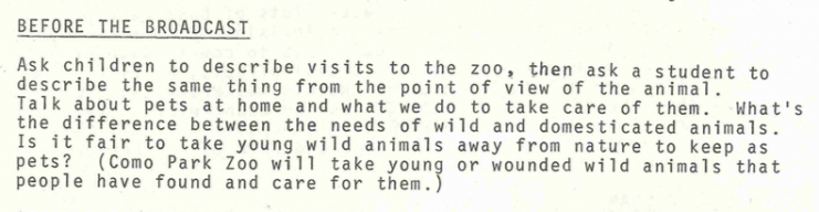 """""""Before the Broadcast"""" portion from the teacher's manual for the program Look What We Found, 1978. It asks, """"Is it fair to take young wild animals away from nature to keep as pets?"""""""