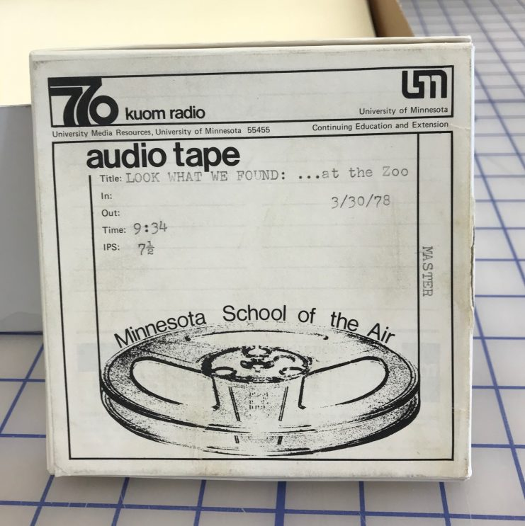 """Audio reel box for """"Look What We Found... At the Zoo,"""" March 30, 1978."""