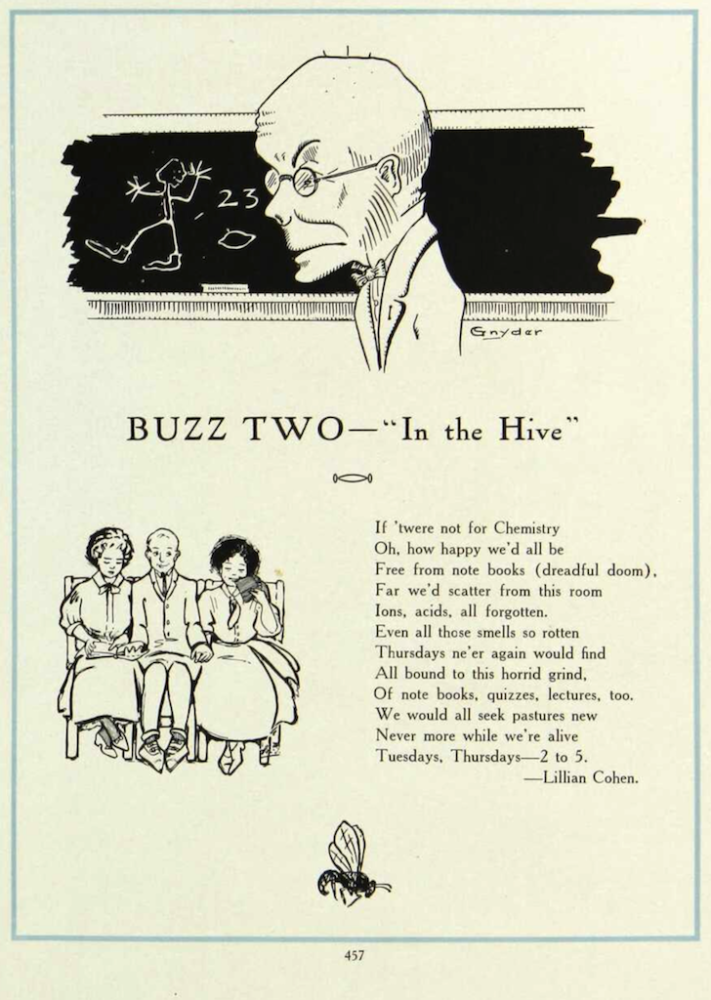 Poem about chemistry written by Lillian Cohen while an undergraduate at the University of Minnesota published in the 1910 Gopher yearbook.