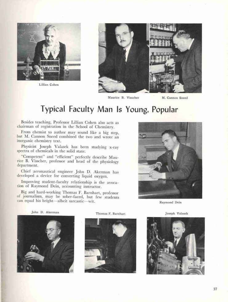 Professor Lillian Cohen featured in the 1942 Gopher yearbook.