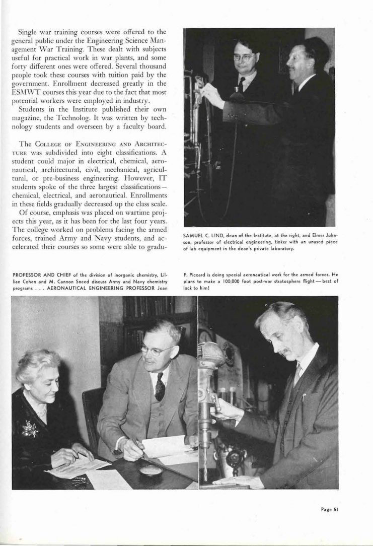 Professor Lillian Cohen featured in the 1945 Gopher yearbook.