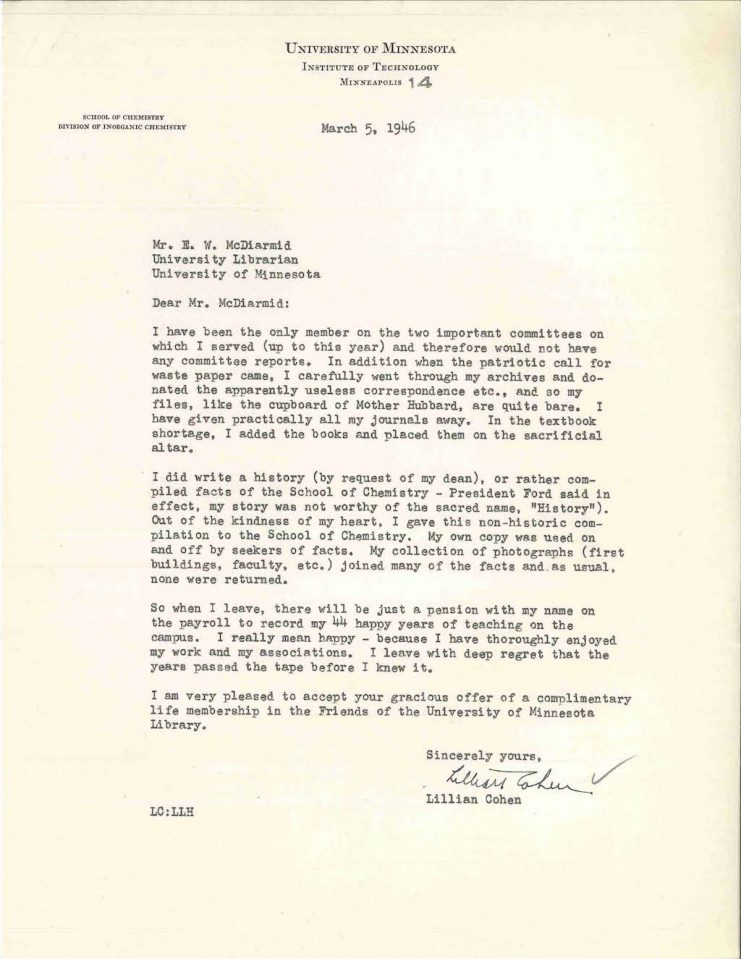 Letter from Professor Lillian Cohen to University Librarian E.W. McDiarmid in 1946 indicating she would not have any materials to provide the University Archives upon her retirement.