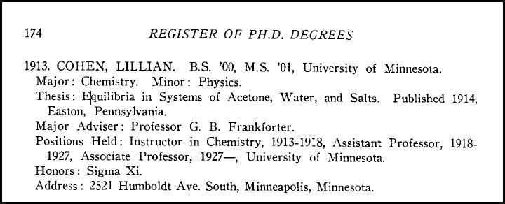 Professor Lillian Cohen's listing in the Register of Ph.D. Degrees.
