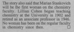 Correction run in the January 1981 publication The Report indicating Professor Cohen's place in Department of Chemistry history.