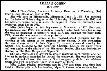 University of Minnesota Senate memorial statement regarding the death of Professor Lillian Cohen in 1949.