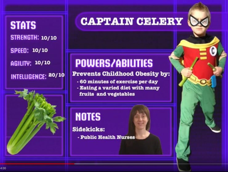 Captain celery pictured with statistics on childhood obesity.