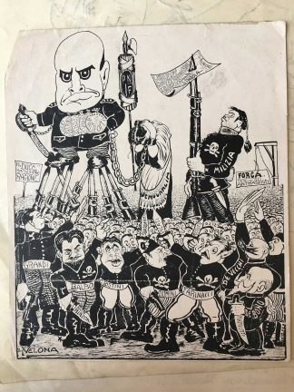 """Cartoon depicting Mussolini wearing a medal that reads """"Matteotti, from the Immigration History Research Center Archives, Fort Velona Papers."""
