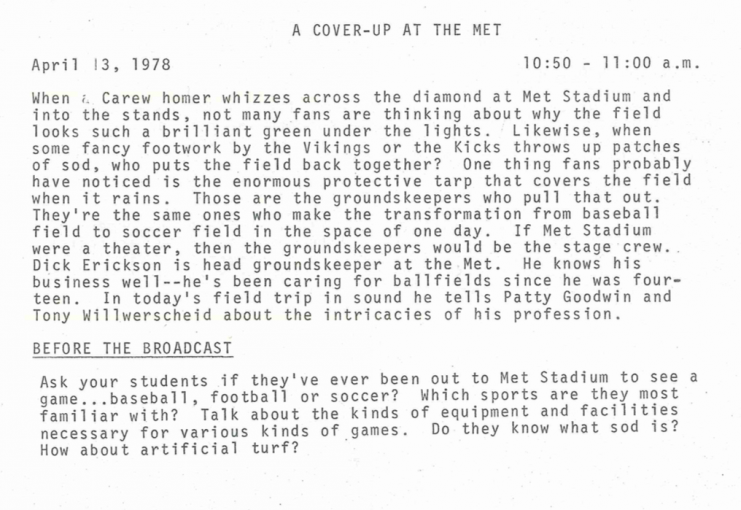 "Text from the ""Look What We Found"" teacher's manual for the April 13, 1978 episode ""A Cover-up at the Met."""