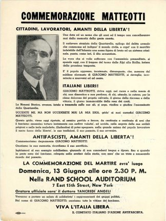 Poster in the Fred Celli Papers calling for commemorative event and antifascist protest in New York, likely 1926, from the Immigration History Research Center Archives Fred Celli Papers.