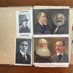 Image of Caselli's scrapbook, showing Matteotti alongside Engels, Marx, and Kropotkine, from the Immigration History Research Center Archives, Caselli Papers.