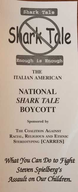 Pamphlet boycotting the perpetuation of national stereotypes of Italians as Mafiosi in Steven Spielberg's Shark Tale, from the Immigration History Research Center Archives' Tanzilo Papers.