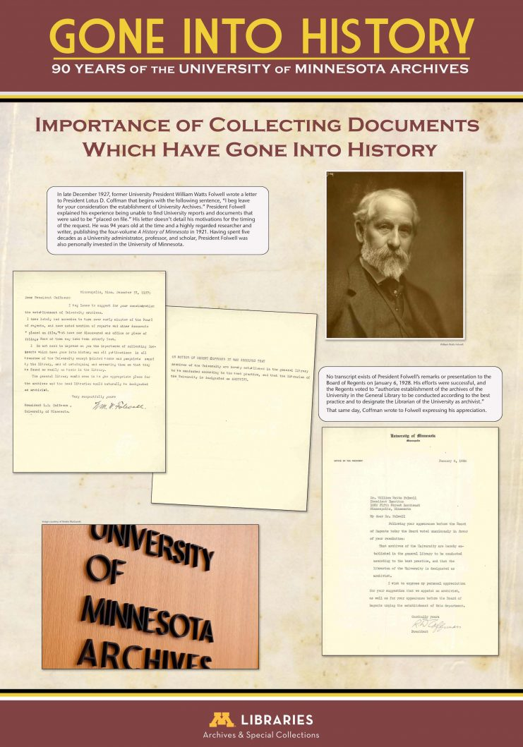 """Digital panel from the exhibit """"Gone Into History: 90 Years of the University of Minnesota Archives"""" displayed in the Elmer L. Andersen Library, January 19 through April 27, 2018."""