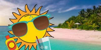 Cartoon sun wearing sunglasses, sipping water and with sunscreen