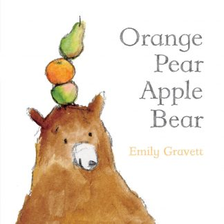 Picture Bear Balancing a stack on the top of his head an apple, orange and pear