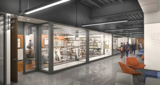 Rendering of the Health Sciences Library Makerspace in the Health Sciences Education Center building.