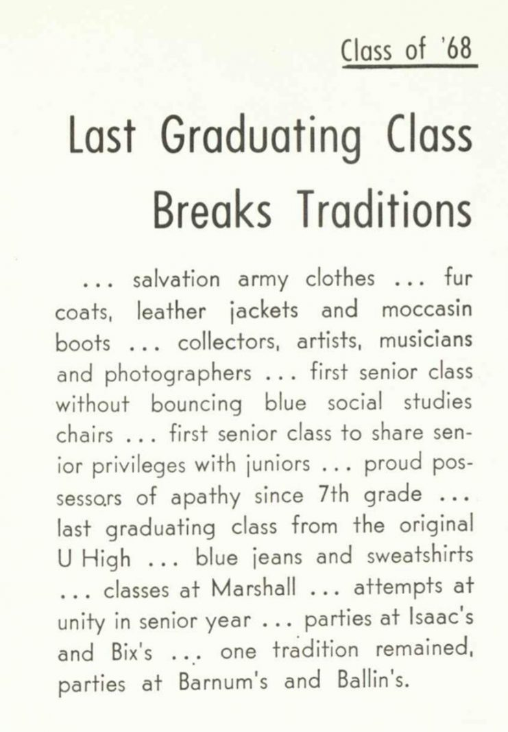 """""""Last Graduating Class Breaks Traditions"""" from the 1968 Bisbila yearbook."""