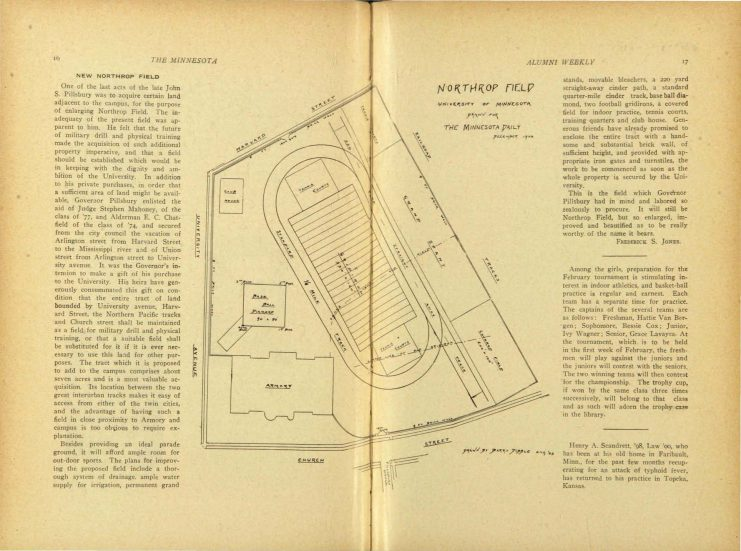 December 22, 1902 issue of Minnesota Alumni Weekly detailing expansion of Northrop Field and featuring a site drawing by Barry Dibble (Class of 1903), http://hdl.handle.net/11299/52982