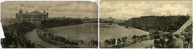 Northrop Field captured during a football game between the University of Chicago and Minnesota in 1907 (final score: Chicago 18 and Minnesota 12).