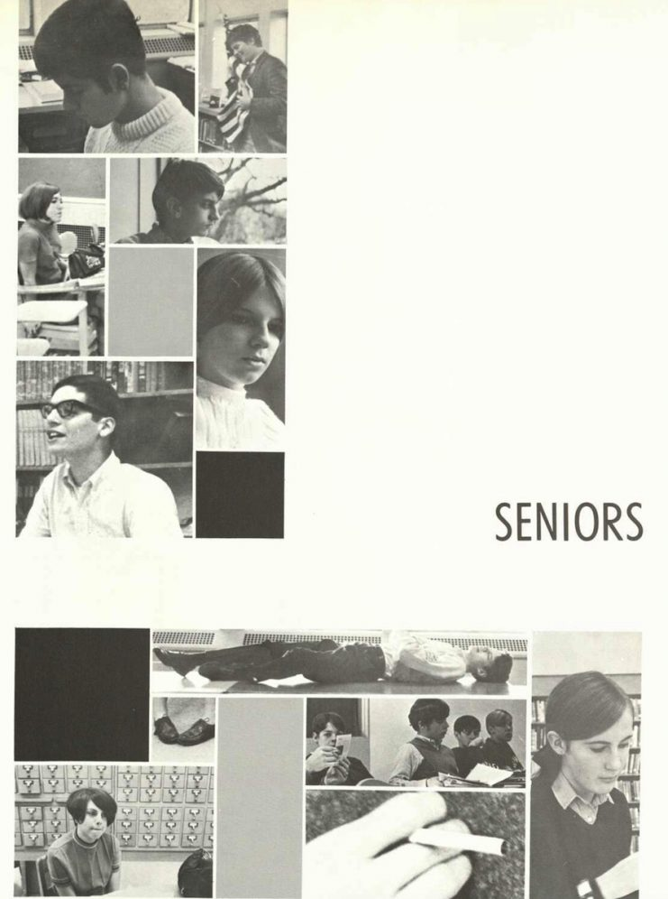 Seniors section from the 1968 Bisbila yearbook.
