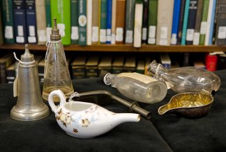 Artifacts from the Wangensteen Historical Library of Biology and Medicine.