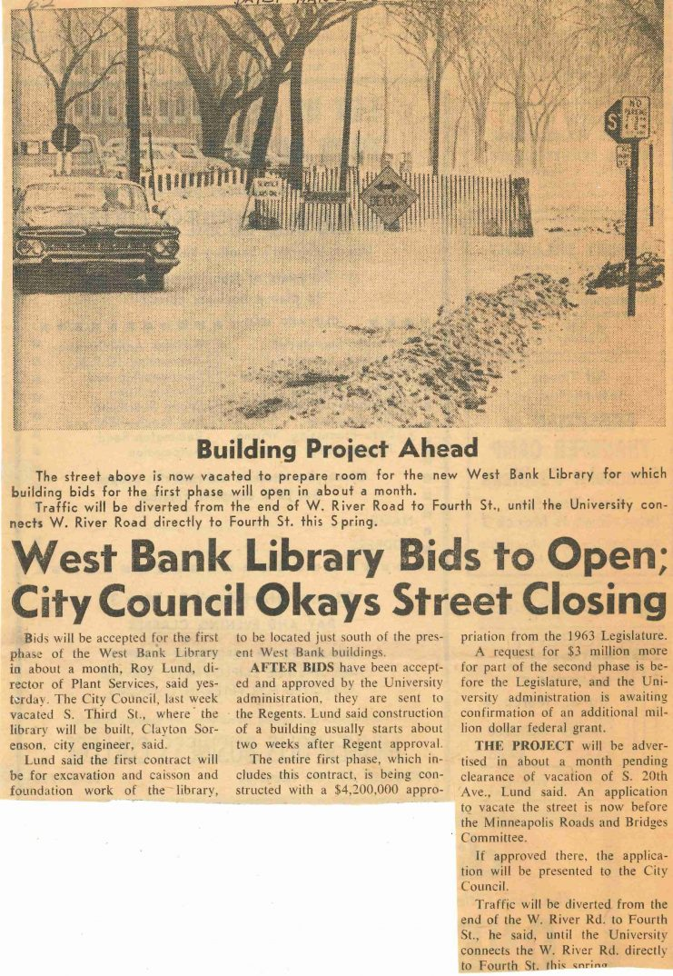 """West Bank Library Bids to Open; City Council Okays Street Closing,"" Minnesota Daily, March 2, 1965."