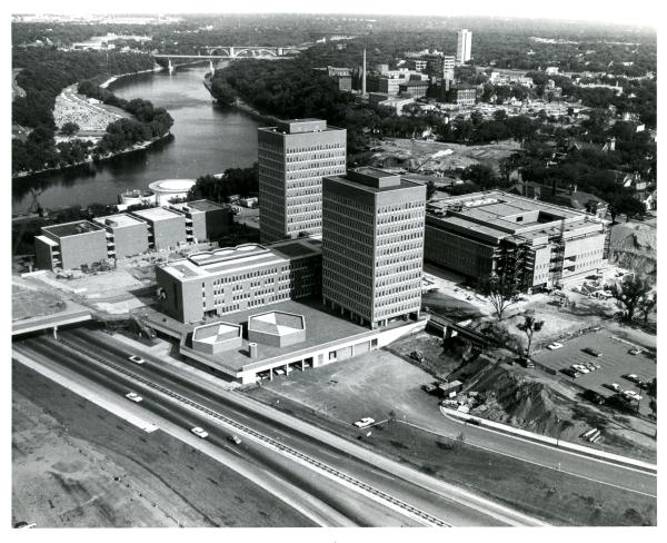 Wilson Library and Anderson Hall under construction, 1967, http://purl.umn.edu/226293.