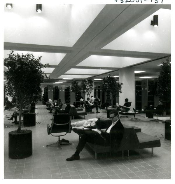 Wilson Library reading and lounge area, 1968, http://purl.umn.edu/226282