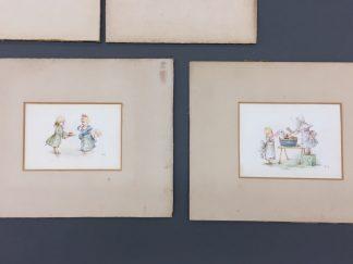Kate Greenaway watercolors with old mats