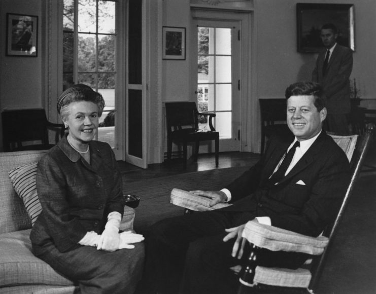 President John F. Kennedy meets with newly-appointed United States Minister to Bulgaria, Eugenie M. Anderson in May 1962. Image ID: AR7272-A, image is in Public Domain. Original is available at https://www.jfklibrary.org/Asset-Viewer/Archives/JFKWHP-AR7272-A.aspx.