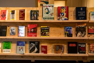 A display of books at the Weisman Art Museum