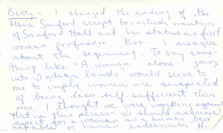 Handwritten note from KUOM producer Michele Cairns to program manager Betty Girling regarding the Maria Sanford script.