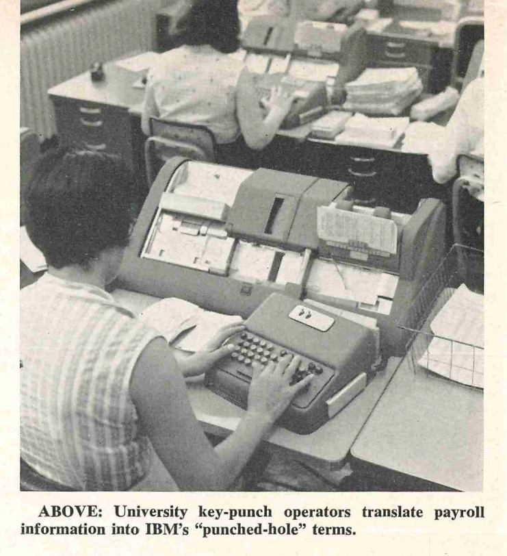 """University key-punch operators translate payroll information into IBM's """"punched-hole"""" terms."""