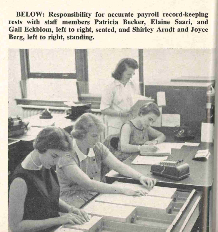 Responsibility for accurate payroll record-keeping rests with staff members Patricia Becker, Elaine Saari, and Gail Eckblom, left to right, seated Shirley Arndt and Joyce Berg, left to right, standing.