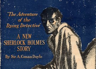 """Colliers magazine cover from November 22, 1913 featuring an illustration of Sherlock Holmes looking sickly for """"The Adventure of the Dying Detective."""""""