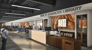 Rendering of the new Health Sciences Library entryway.