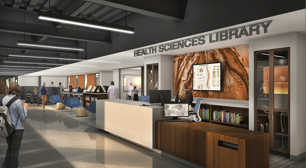 Rendering of the Health Sciences Library entryway