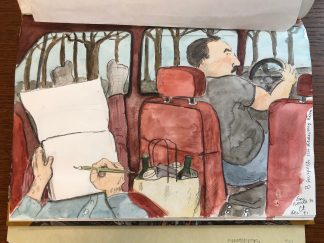 Watercolor study of Marshall drawing driver from the back seat